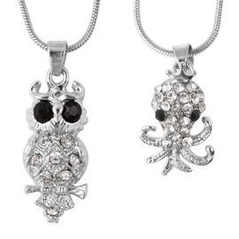 2 Piece Set - White and Black Austrian Crystal (Rnd) Owl and Octopus Pendants with Chain (Size 28 wi