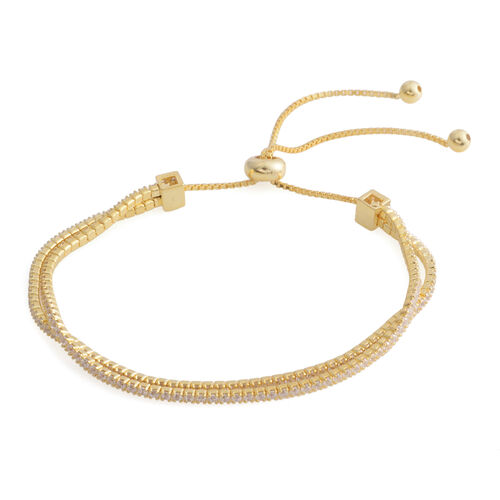 ELANZA Simulated Diamond (Rnd ) Adjustable Bracelet (Size 6.5 - 9) in Yellow Gold Overlay Sterling Silver, Silver wt 6.20 Gms.