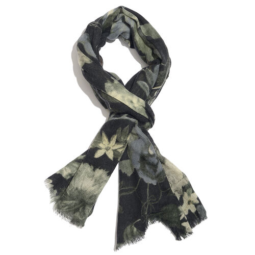 100% Merino Wool Black, Green and Multi Colour Floral and Leaves Pattern Scarf with Fringes (Size 170X70 Cm)