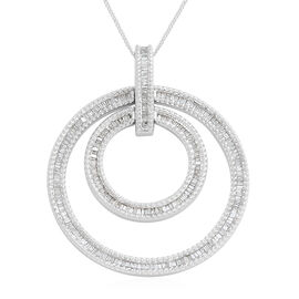 Diamond  Circle Pendant with Chain in Platinum Overlay Sterling Silver 1.000 Ct, Silver wt 11.62 Gms,
