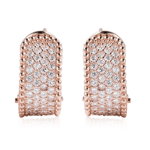 ELANZA Simulated Diamond French Clip Earrings Rose Gold Overlay Sterling Silver
