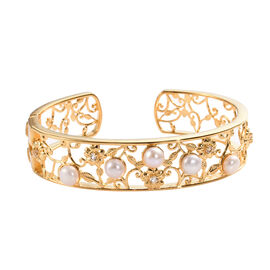 Freshwater Pink Pearl and White Topaz Cuff Bangle (Size 7.5) in 18K Yellow Gold Plated