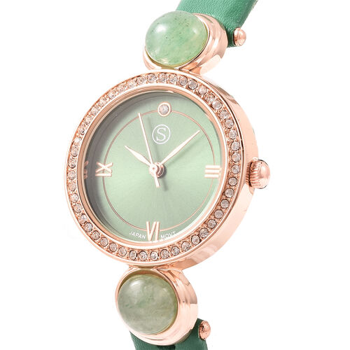 2 Piece Set - STRADA Japanese Movement Green Aventurine and White Austrian Crystal Studded Water Resistant Watch with Green Strap and Pendant with Chain (Size 28) in Rose Gold Tone 16.00 Ct.