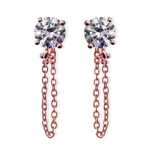 J Francis - Rose Gold Overlay Sterling Silver (Rnd) Earrings (with Push Back) Made with SWAROVSKI ZI