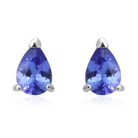 Tanzanite (Pear) Stud Earrings (with Push Back) in Rhodium Overlay Sterling Silver 1.30 Ct.