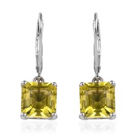 4.75 Ct Natural Ouro Verde Quartz Solitaire Drop Earrings in Platinum Plated Sterling Silver