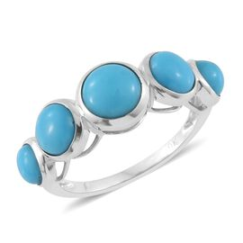 9K White Gold AAA Arizona Sleeping Beauty Turquoise (Rnd 1.05 Ct) 5 Stone Ring 3.500 Ct.