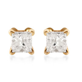 14K Yellow Gold EGL Certified Diamond (Sqr) (I1-I2/G-H) Earrings (with Screw Back) 0.50 Ct.