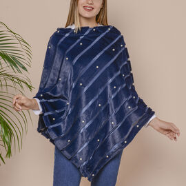 Striped Faux Fur Poncho with Plastic Pearl Beads (Size 100x84 cm) - Dark Blue