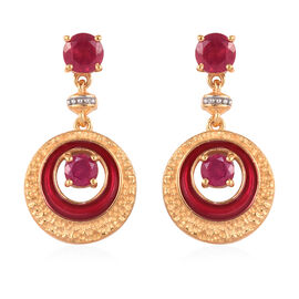 Designer Inspired African Ruby Dangle Enamelled Earrings (with Push Back) in 14K Gold Overlay Sterli