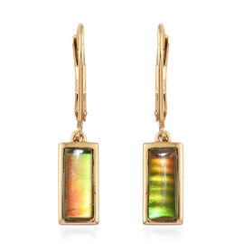 AA Canadian Ammolite (Bgt 10x4 mm) Lever Back Earrings in 14K Gold Overlay Sterling Silver.