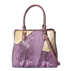 Snakeskin Pattern Tote Bag with Handle Drop and Zipper Closure (Size 30x13x26Cm) - Purple