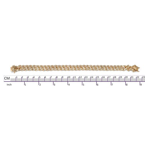 Diamond (Bgt) Curb Bracelet (Size 8) in Yellow Gold Overlay Sterling Silver 3.000 Ct, Silver wt 23.74 Gms,