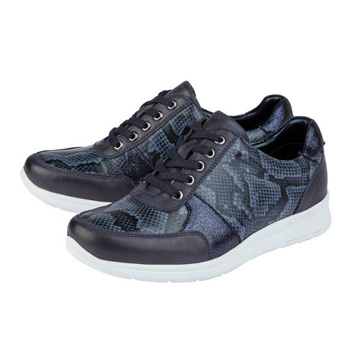 Lotus Stressless Leather Florence Lace-Up Trainers (Size 3) - Navy