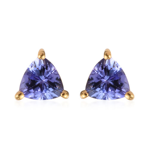 Tanzanite (Trl) Stud Earrings (with Push Back) in 14K Gold Overlay Sterling Silver 0.750 Ct.
