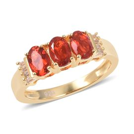 1.08 Ct Jalisco Fire Opal and Cambodian Zircon 3 Stone Ring in Sterling Silver 4.8 Grams