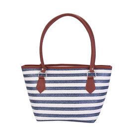 Blue and Cream Vertical Stripe Pattern Tote Bag (Size 42x16x25cm)