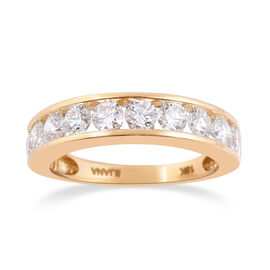 ILIANA 18K Yellow Gold IGI Certified Diamond (Rnd) (SI /G-H) Half Eternity Band Ring 1.50 Ct.