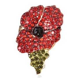 Multicolour Austrian Crystal Poppy Floral Magnetic Brooch in Gold Tone