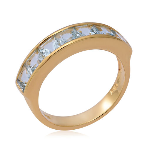 Espirito Santo Aquamarine Half Eternity Band Ring  in Yellow Gold Overlay Sterling Silver 2.03 Ct.