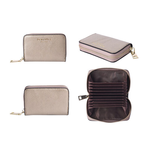 Sencillez 100% Genuine Leather RFID Protected 11 Slots Card Holder Wallet (Size 12x2x8 Cm) - Gold