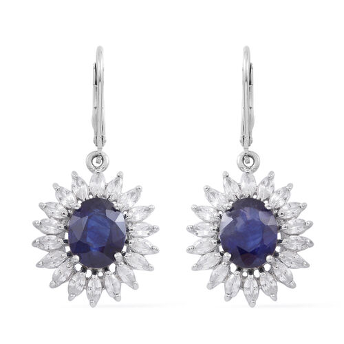 Rare Size Kanchanaburi Blue Sapphire (Ovl), Natural White Cambodian Zircon Lever Back Earrings in Rhodium Plated Sterling Silver 11.250 Ct.