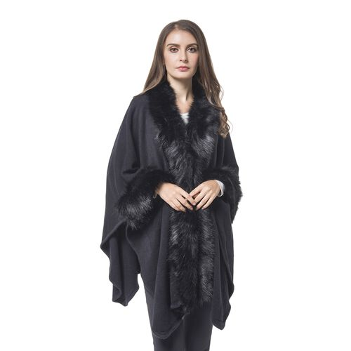 Black Colour Cape with Faux Fur Edge (Free Size)