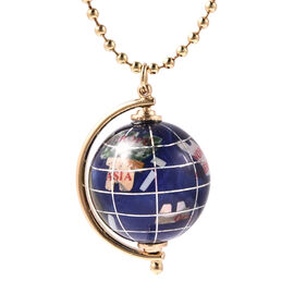Coconut Shell,  White Shell Pearl and Multi Gemstones Globe Pendant with Chain (Size 26 with 3 inch
