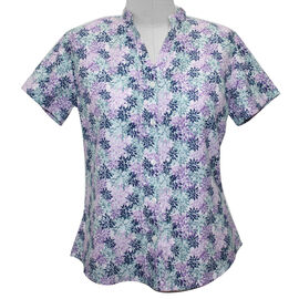 Pure and Natural Printed Shirt in White and Multi (Length 63cm)