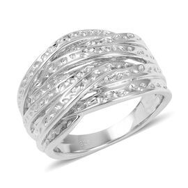 Rhodium Overlay Sterling Silver Crisscross Ring, Silver wt 8.96 Gms.