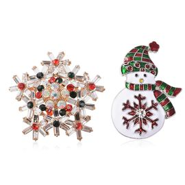 2 Piece Set - Multicolour Austrian Crystal (Rnd), Simulated Diamond Christmas Theme Enamelled Brooch