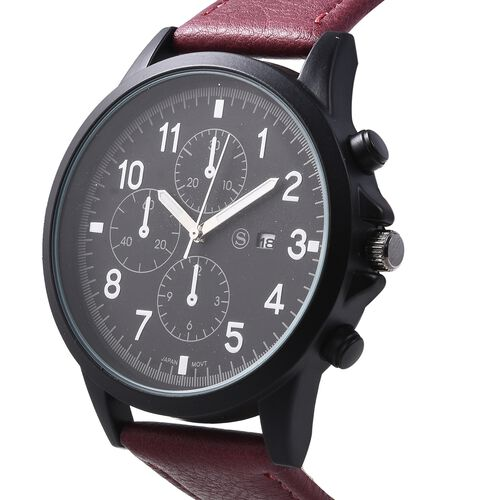 STRADA Japanese Movement Water Resistant Watch with Dark Colour Strap