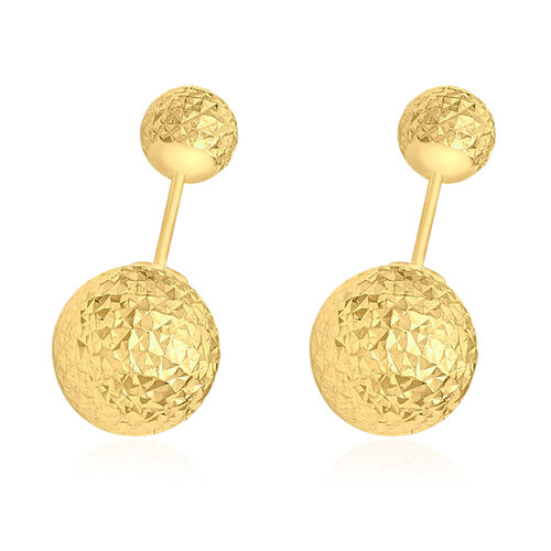 9K Yellow Gold Stud Ball Earrings (with Push Back).
