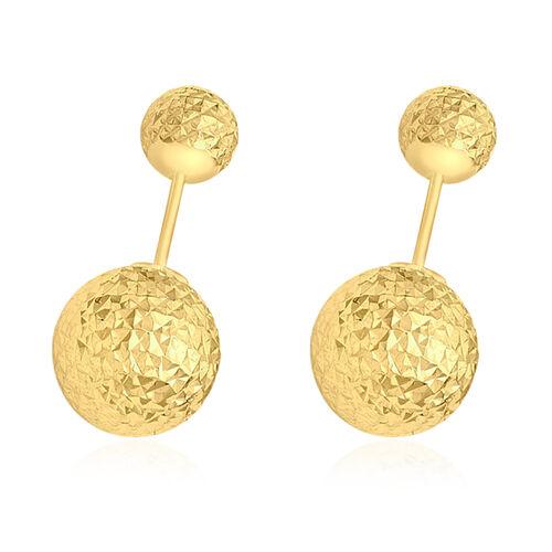 High Finish Diamond cut Ball Stud Earrings in 9K Gold 2.20 Grams