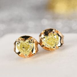 14K Yellow Gold Natural Yellow Diamond Heart Stud Earrings 0.50 Ct.