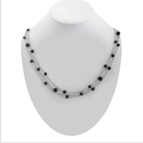 Black Glass Triple Strand Necklace (Size 20) in Stainless Steel