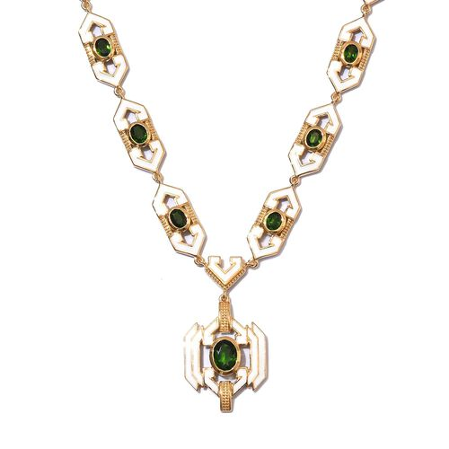 Russian Diopside Enamelled Necklace (Size 18) in 14K Gold Overlay Sterling Silver wt 25.00 Gms