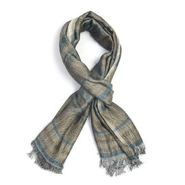 Designer Inspired - Grey and Blue Colour Scarf With Metalic Thread Detailing (Size 180x70 Cm)