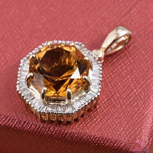 WEBEX- 9K Yellow Gold AA Citrine (Oct 4.00 Ct), Diamond Pendant  4.300 Ct.