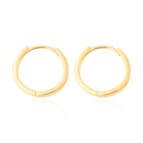 Yellow Gold Overlay Sterling Silver Diamond Cut Hoop Earrings (with Clasp), Silver wt 3.50 Gms