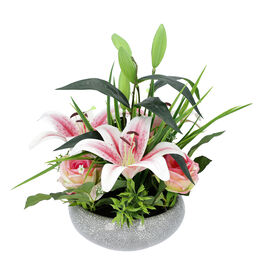 Tiger Orchids and Lovesickness Roses in Ceramic Vase - Pink