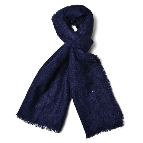 Navy Colour Scarf with Sequins (Size 200x70 Cm)