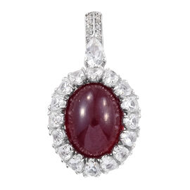 19.50 Ct African Ruby and White Topaz Halo Pendant in Platinum Plated Sterling Silver