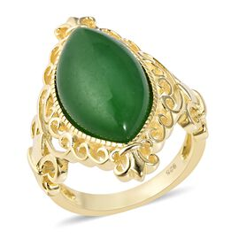 Green Jade (Mrq 20x10 mm) Ring in Yellow Gold Overlay Sterling Silver 9.50 Ct, Silver wt 5.32 Gms.