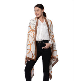 New Arrival- Cuff and Chain Pattern Scarf in Brown (80x180cm)