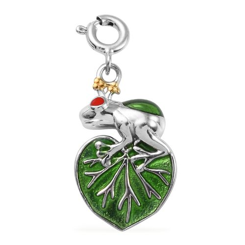 Platinum and Yellow Gold Overlay Sterling Silver Enamelled Frog on Leaf Charm