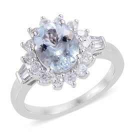 2.58 Ct Espirito Santo Aquamarine and Zircon Halo Ring in Platinum Plated Silver