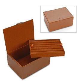 2-Tier Leather Jewellery Box with Magnetic Flap (Size 18x13x9 Cm) - Tan