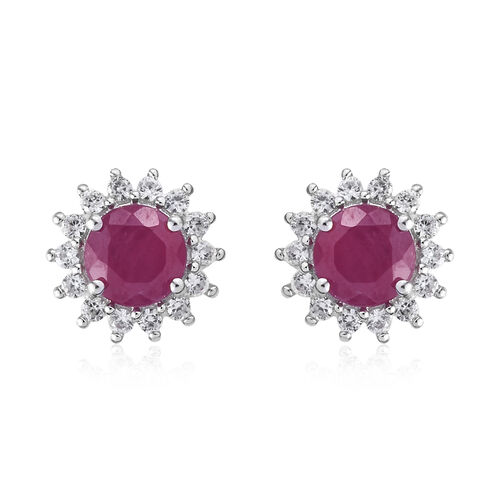 9K White Gold AA African Ruby (Rnd) Natural Cambodian Zircon Halo Stud Earrings (with Push Back) 3.25 Ct.