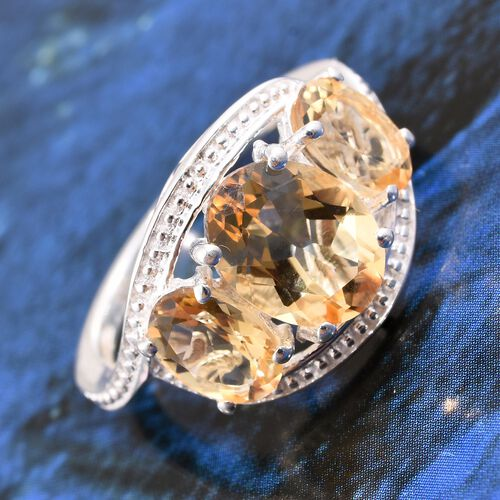 Citrine (Ovl 1.60 Ct) 3 Stone Ring in Sterling Silver 3.000 Ct.